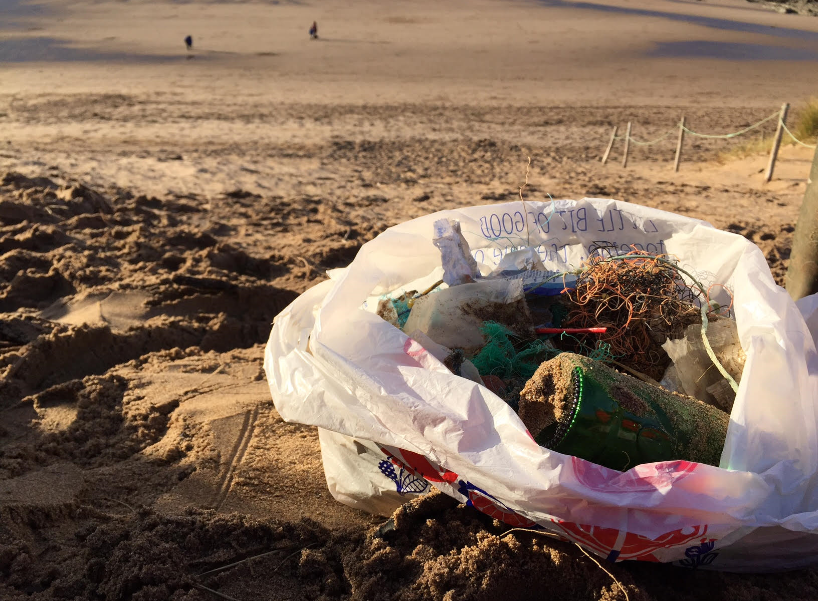 Bag full of rubbish collected on our Croyde beach clean.