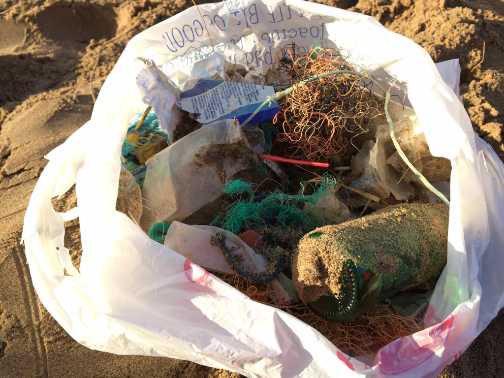 Close up of the bag full of rubbish collected on our Croyde beach clean.