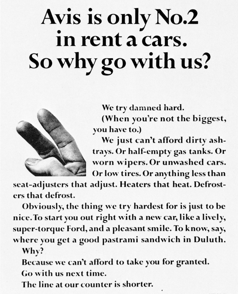 """Avis' famous disruptive """"We try harder"""" campaign by DDB"""