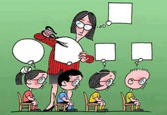 Cartoon of a teacher squaring children's thoughts